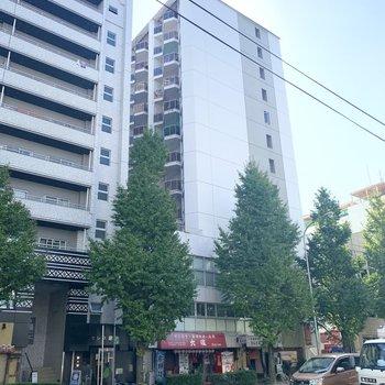 道路沿いの高さのあるマンションです。