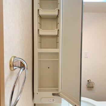 洗面台は左右にこんな収納がついています。細かく分けられますよ。※写真は1階の同間取り別部屋のものです