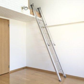 はしごを使わないときは、壁に立てかけられます。