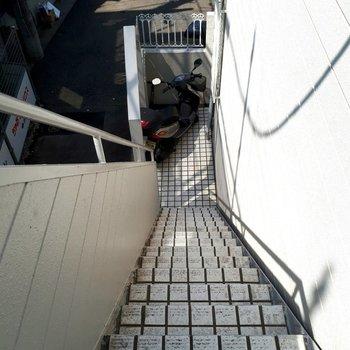 この階段を登って。