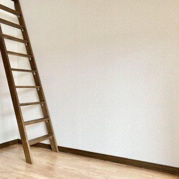 ロフトへはこちらのはしごを登ります。