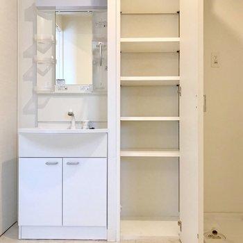 この棚はタオルや下着収納に便利!(※写真は5階の同間取り別部屋、清掃前のものです)