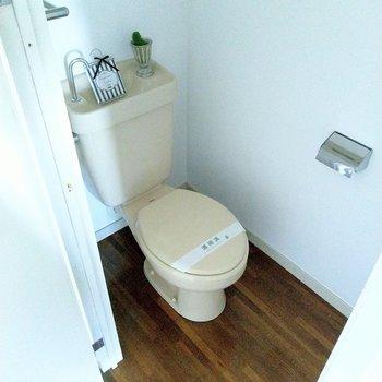 トイレもキレイ!レトロな感じが床の木目と合っててカワイイ。(※写真の小物等は見本です)