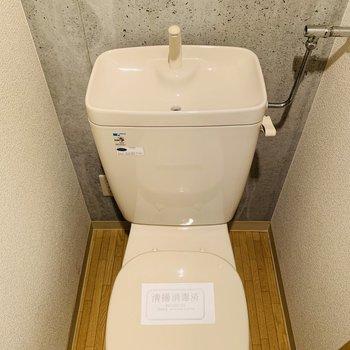 コンクリ壁がアクセントのトイレ ウオッシュレットはありません