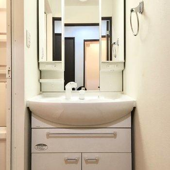 洗面台は収納たっぷり◎(※写真は11階の同間取り別部屋のものです)