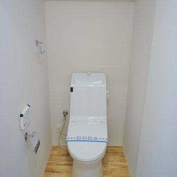 トイレはウォシュレット付きです。(※写真は2階の同間取り別部屋のものです)