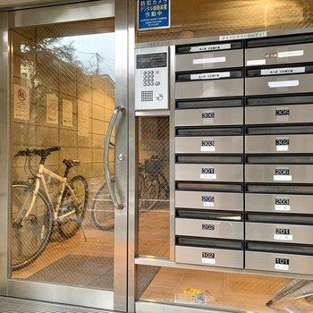 オートロック横のメールボックスが郵便物を待ちます。