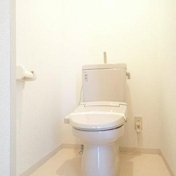 トイレはややゆったりめでした。玄関前にあります。