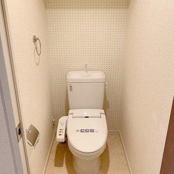 トイレはウォシュレット付き、棚もあります。(※写真は4階の同間取り別部屋のものです)
