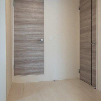 ドアは木目調。正面のドアを開けるとサニタリー。※写真は2階の同間取り別部屋のものです