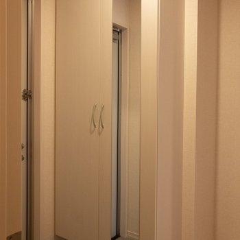 シューズボックスの扉には鏡があります。