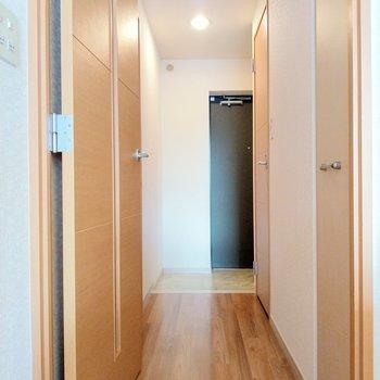 広々明るい廊下。右の扉は収納。