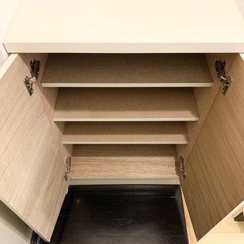 シューズボックスは1段に2足くらいのサイズ感。