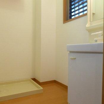 脱衣所には洗濯パンと独立洗面台。※写真は1階の反転間取り別部屋のものです