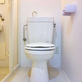 脱衣所兼個室トイレ。 (※写真は3階の同間取り別部屋のものです)