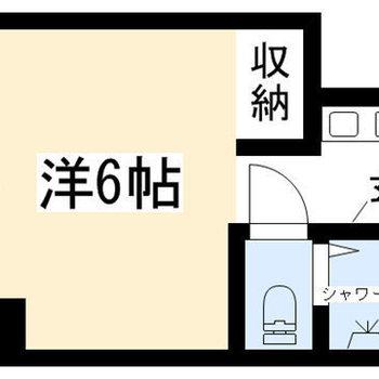バス・トイレ別のシンプルワンルーム。