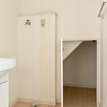 奥に洗濯機置場。階段下収納ありました。掃除道具や生活用品ここに(※写真は清掃前です)