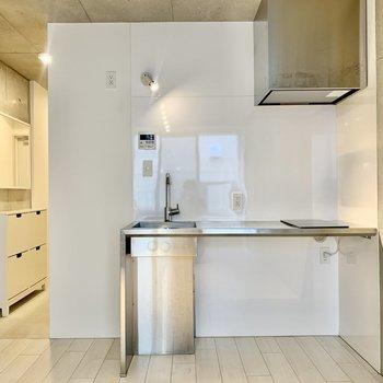 キッチンはステンレスタイプ。このカクカクした感じがたまらない。