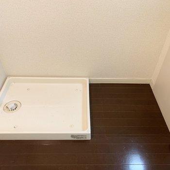 キッチン横には洗濯機と幅60cmの冷蔵庫が置けます。