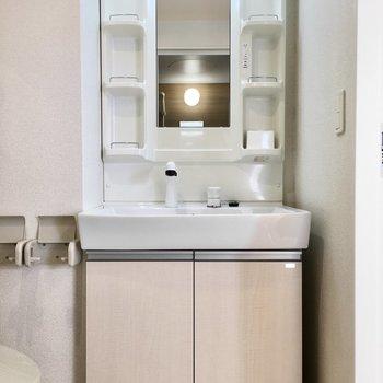 洗面台はトイレの横に。