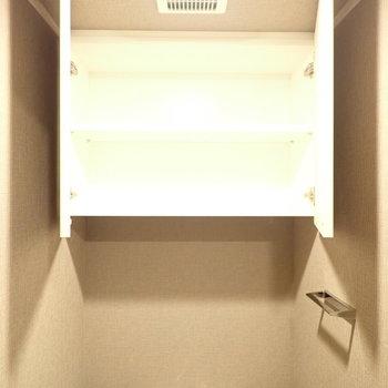 上にはペーパーを入れる棚が。(※写真は4階の同間取り別部屋のものです)