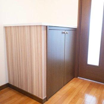 廊下に靴箱として使えそうなボックスが。