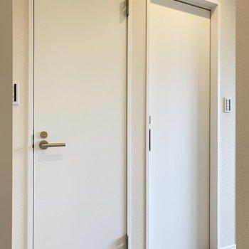 白い扉、手前がトイレ、奥の引き戸はサニタリー。(※写真は2階の同間取り別部屋のものです)
