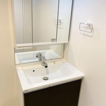 洗面台も高級感がありますね。(※写真は2階の同間取り別部屋のものです)