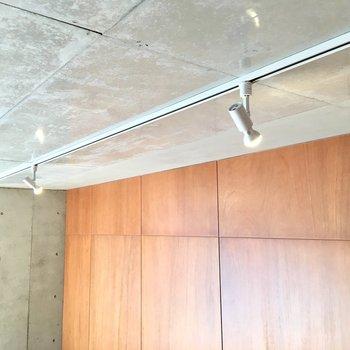 天井にはスポットライトが。お気に入りのインテリアをライトアップしてあげましょう。