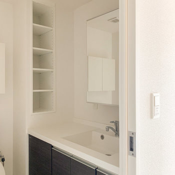 広めの洗面台には収納スペースもたっぷり。朝の支度はこちらで済みそうです。