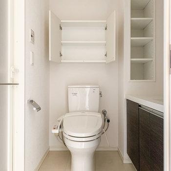 さて、気になるサニタリールームへ。トイレは温水洗浄機付きです。