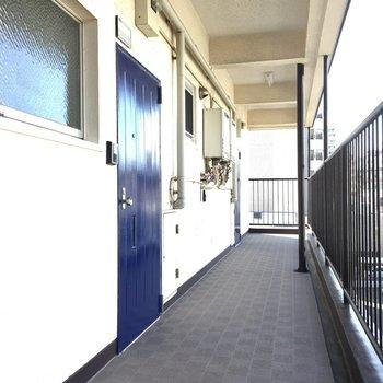 テレビモニターホン付き、ブルーのドアがスッキリ感。