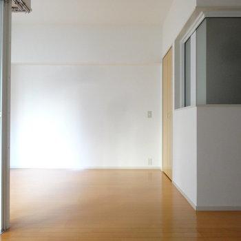 大きめのソファや観葉植物が似合いそう。あのすりガラスの先はサニタリー。(※写真は3階の反転間取り別部屋のものです)