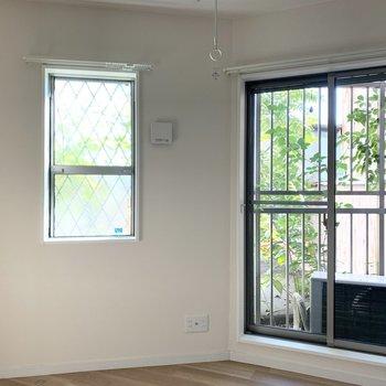 窓からの緑も良いですね◎眺望はグリーンとお隣様。外が見えるクリアな窓はこちらのみです。