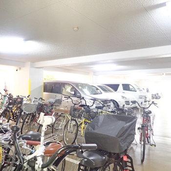 駐輪場と駐車場です。