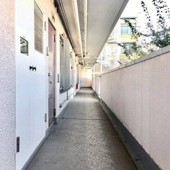 共用部】廊下は薄ピンクがテーマカラー。
