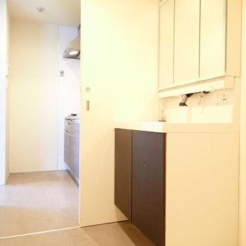 洗面台と洗濯機。脱衣所の広さも十分です。