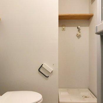 シェルフには洗剤などのストックを。※写真はクリーニング前のものです