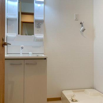 脱衣所です。大型の洗面台があります。
