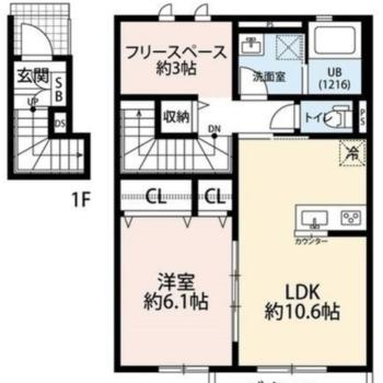 1階に玄関、2階に居室があります。