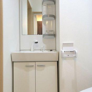 横には洗面台。サニタリーは1箇所にまとまっていました。※写真は2階の同間取り別部屋のものです