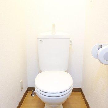 トイレは機能もデザインもシンプルですが、こちらも清潔感あり。