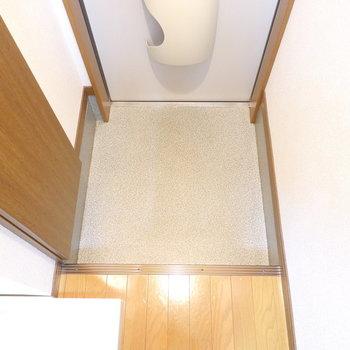 玄関はひとりなら脱いだり履いたりしても困らない広さ。