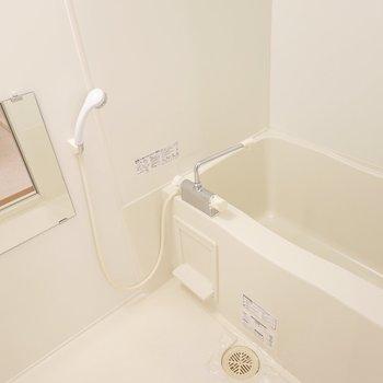 お風呂もシンプル。浴槽が少し大きめ。