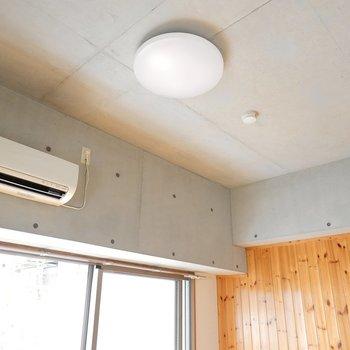 天井はコンクリ。木材との対比がクール。