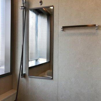 鏡とタオル掛けもついています。