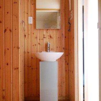 洗面はコンパクト。羽目板がいい感じ ※写真は似た間取りのお部屋のものです