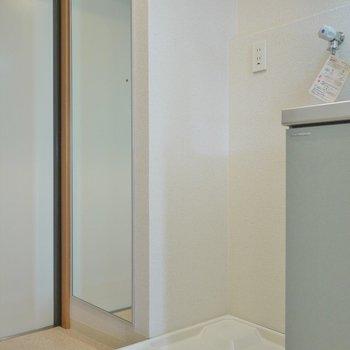 反対側は、姿見と洗濯置場。※写真は404号室のもの
