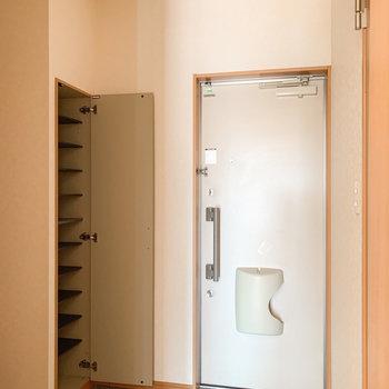 細長いカタチの玄関。シューズボックスは11足程度しまえそうでしたよ。