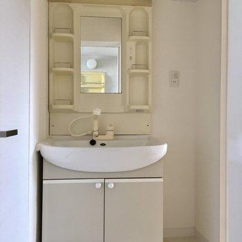 洗面台はちょっとレトロですが、シングルレバーで扱いやすいですね。